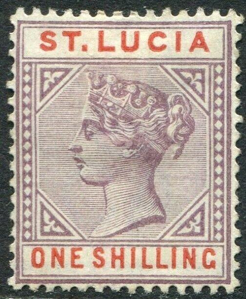 ST LUCIA-1891-98 1/- Dull Mauve & Red Sg 50 AVERAGE MOUNTED MINT V48996