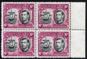 Grenada KGVI 1938 6d Black Purple SG159 Mint Never Hinged Block x 4 MNH