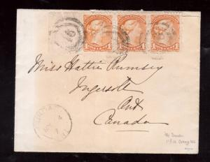 Canada #35a Used Strip Of Three On Cover With Ideal 2 Ring 46 Cancels