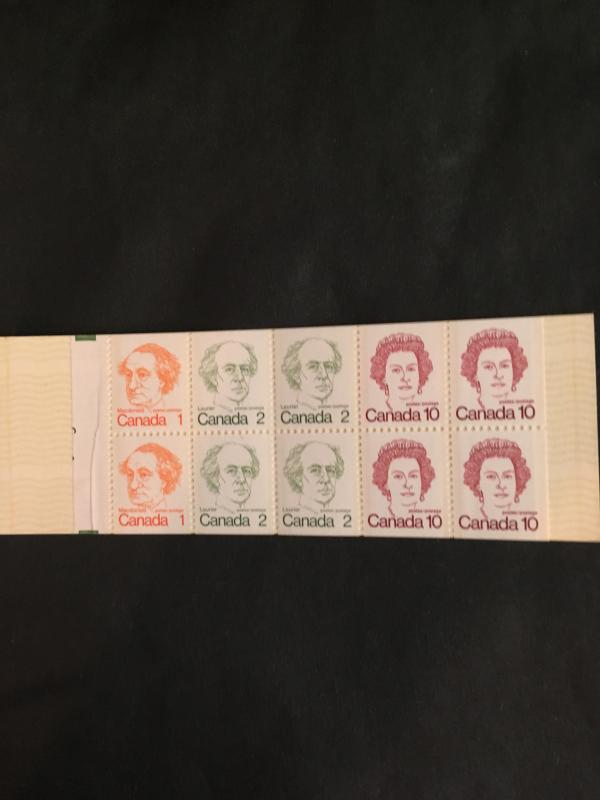 Canada USC #BK76g Mint VF-NH Cat. $30. 1976 Booklet Pane Shows Partial Numbers.