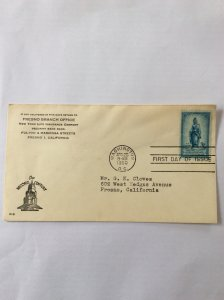 1950 Sesquicentennial  3c First day cover. Washington DC post mark to Fresno.