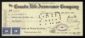 C5 Canada Life Assurance Co. bank draft, 1941, revenue stamp Van Dam #FX64 pair