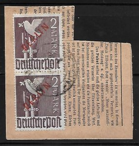 Berlin 1948 #9N34 Used 4-copies on Front/Back Piece w/Postmark '17CV $840 11730