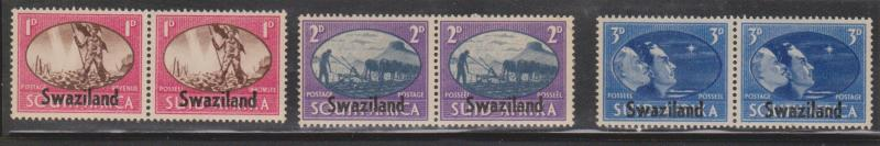 SWAZILAND Scott # 38-40 MH - Peace Issue - South Africa Overprinted