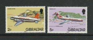Gibraltar 1986 Airplanes pair, Change of wmk, 1986 Imprint date UM/MNH,SG 549/52