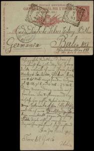 Italy 1893 Postal History Rare Old postcard postal stationery Torre del Greco...