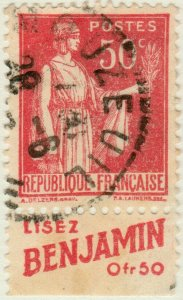 FRANCE - 1933 pub LISEZ BENJAMIN sur Yv.283 50c Paix t.I obl. MOUZEUIL, Vendée