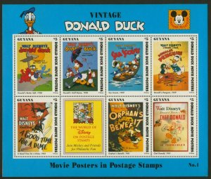 Guyana 2769a MNH Disney Vintage Donald Duck, Movie Posters