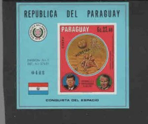 PARAGUAY #1242  1969  U.S SPACE PROGRAM     MINT VF NH O.G  S/S