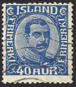 Iceland Sc# 124 Used 1920-1922 40a dk bl Christian X
