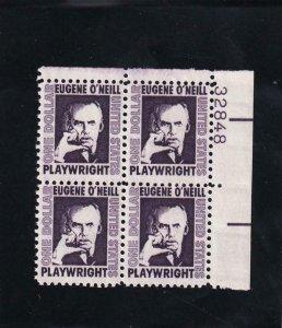US: $1.00 Eugene O'Neill, Sc #1294, Plate Block/4, MNH (7246)