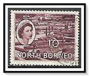 North Borneo #267 QE II & Map Used