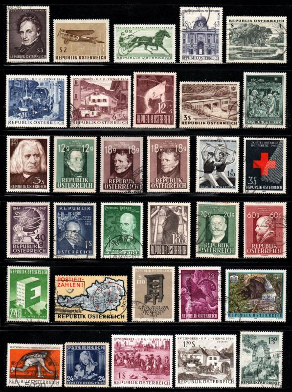 Austria ~ Lot of 32 Different Stamps @ 4c each ~ Mint, Used, HMR, MX Cond...