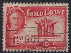 Gold Coast 1948 KGV1 1 1/2d Scarlet SG 137 ( L1448 )