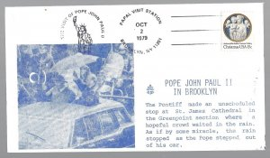 United States, 1768, Visit Pope John Paul II Brooklyn Souvenir Cover, Used #2