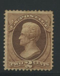 1870 US #146 A45 2c Mint Original Gum Stamp Catalogue Value $300 Certified