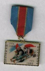 Denmark. Christmas Seal  1995 Walk  Medal. Santa,Sled.