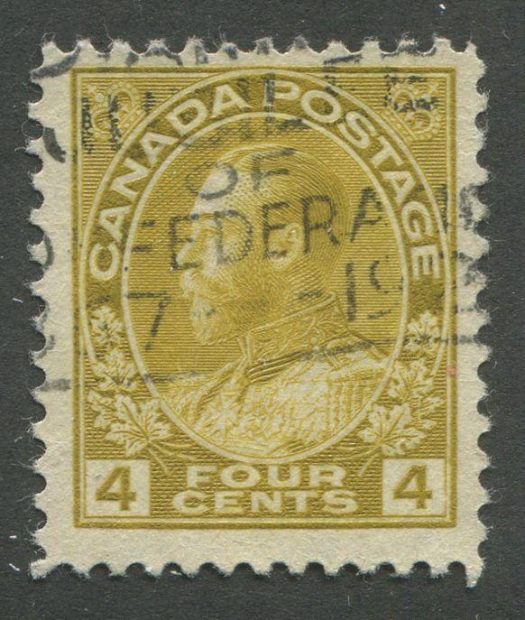 Canada #110d 4c Olive Bistre Admiral Issue Dry Printing No Mesh F-70 Used