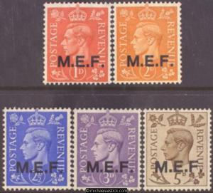 1943 British Occupied Middle East Forces 1d-5d Definitives (5), SG M11-15, MUH