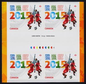 Canada 2837 Gutter pair Block MNH FIFA Womens World Cup Soccer, Football