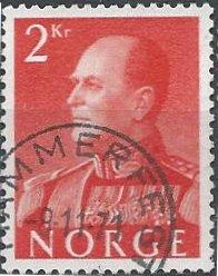 Norway 372 (used) 2k Olav V, crimson (1959)