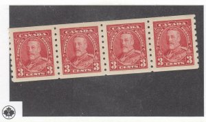 CANADA (KSG911) # 230 VF-MLH  3cts  KGV PICTORIAL COIL STRIP OF 4 / CARM CAT $80