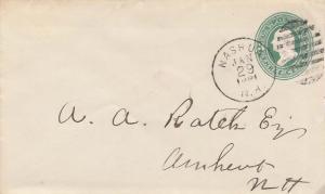 United States New Hampshire Nashua 1881 duplex  Postal Stationery Envelope.