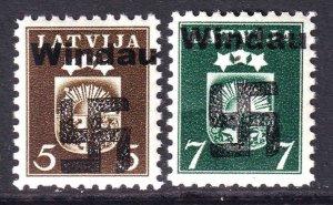 LATVIA 220-221 WW2 WINDAU OVERPRINTS OG NH U/M F/VF TO VF BEAUTIFUL GUM