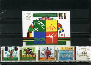 TURKMENISTAN 1992 SUMMER OLYMPIC GAMES BARCELONA STRIP OF 5 STAMPS & S/S MNH