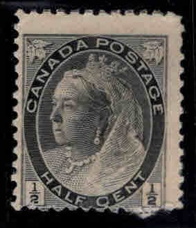 CANADA Scott 74 MH* 1898 1/2c Victoria Faulty, adhesion,and tear at bottom
