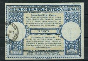 KENYA UGANDA TANGANYIKA 75 cents used - International Reply Coupon IRC