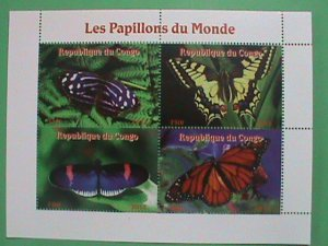 CONGO STAMP 2011-  COLORFUL LOVELY BUTTERFLY MINI MNH SHEET  VERY RARE