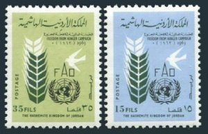 Jordan 398-399 blocks/4,MLH/MNH.Michel 388-389. FAO Freedom from hunger,1963.