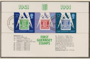 Guernsey 1991 cancelled anniversary stamps  sheet    B