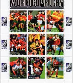 TADJIKISTAN 1999 Rugby World Cup Sheet (9) Perforated mnh.vf