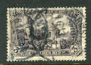 GERMANY; 1906-11 early Deutsches Reich high value 3M. used fair Postmark