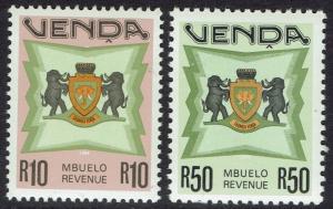 VENDA 1988 ARMS REVENUE R10 AND R50 MNH **
