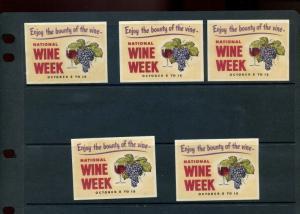 5 VINTAGE NATIONAL WINE WEEK POSTER STAMPS (L921) ***ENJOY THE BOUNTY OF WINE***