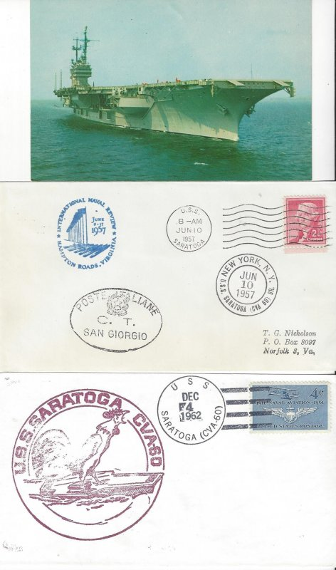 US Naval Cover USS Saratoga CVA60 Post Card, 1957, 1962, 1972, 1983, 1986
