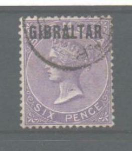 GIBRALTAR SG6 1886 6d DEEP LILAC USED