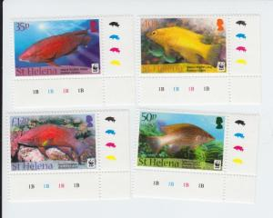 2011 St Helena WWF Island Hogfish (Scott 1035-38) MNH