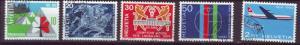 J185 jls stamps 1969 swiss used set/5 w/airplane