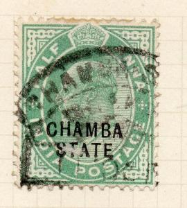 Indian States Chamba 1913 Early Issue Fine Used 1/2a. Optd 229740