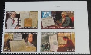 4021-24 Benjamin Franklin Plate Block Mint/nh FREE SHIPPING