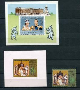 Chad  1978 (2)Souvenir Sheet +Stamp 1SS Proof  MNH Queen Elizabeth II Silver ...
