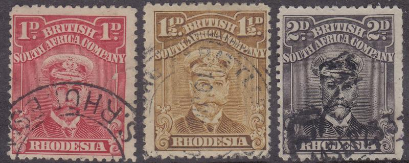 RHODESIA Used Scott # 120a, 121, 122a King George V - remnant, pencil # (3 Stps)
