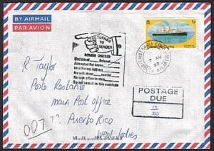 TRISTAN DA CUNHA 1997 Returned postage due cover to Puerto Rico............78824