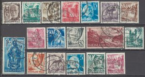 COLLECTION LOT OF #1105 RHINE OCCUPATION 18 USED STAMPS 1947+