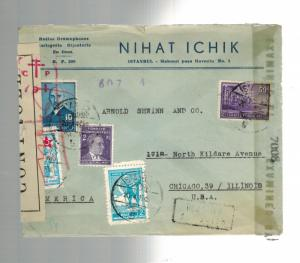1945 Istanbul Turkey airmail Dual Censored Commercial Cover to USA