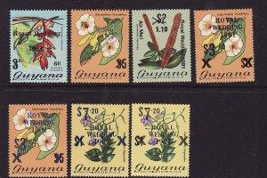 Guyana-Sc#331-5 & 334a,335a-unused NH set-Royal Wedding 1981 overprinted-